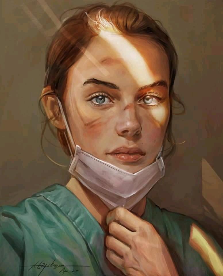 Infirmière avec masque sucite la contagion émotionnelle et l'empathie