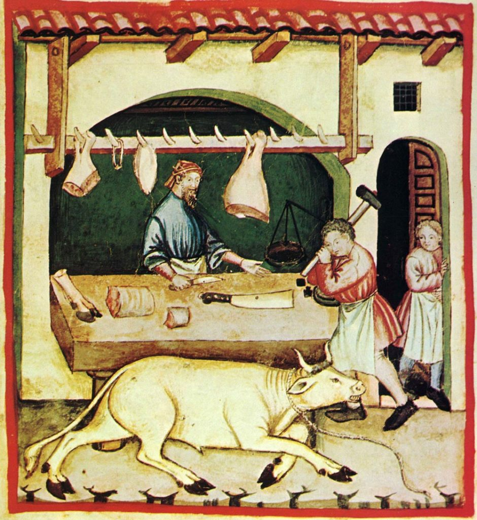Une boucherie au Moyen-Age, le paradoxe de la viande